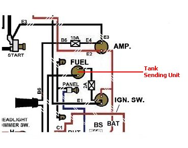 g503 wwii jeep willys mb or ford gpw military vehicle fuel gauge glancing back at a section of the wiring diagram you don t see the fuel sending unit connection but here in red is where it would be connected